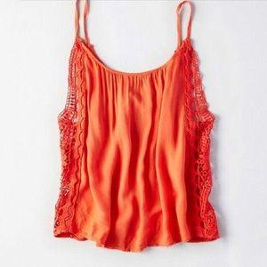 Don't Ask Why Crochet Detail Orange Tank